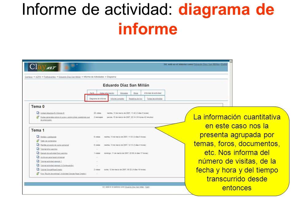 Informe de actividad: diagrama de informe