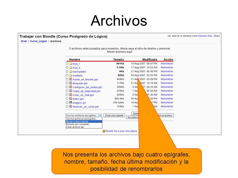 Archivos Nos presenta los archivos bajo cuatro epígrafes, nombre, tamaño, fecha última modificación y la posibilidad de renombrarlos.