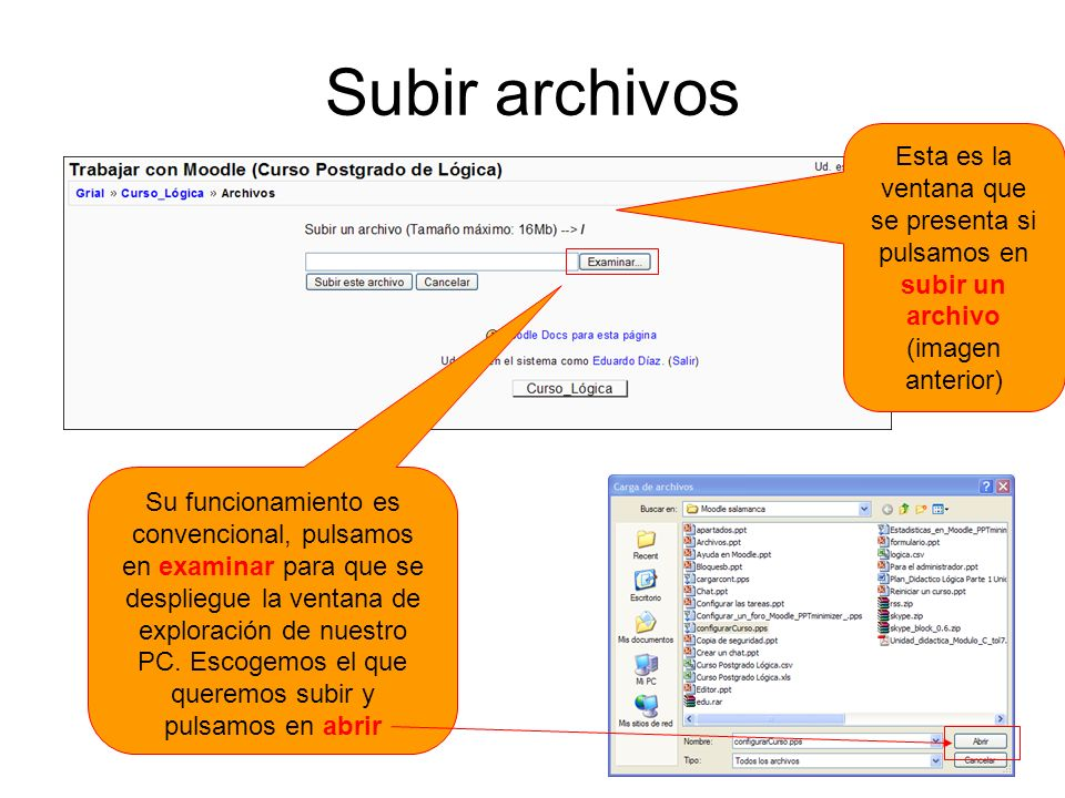 Subir archivosEsta es la ventana que se presenta si pulsamos en subir un archivo (imagen anterior)