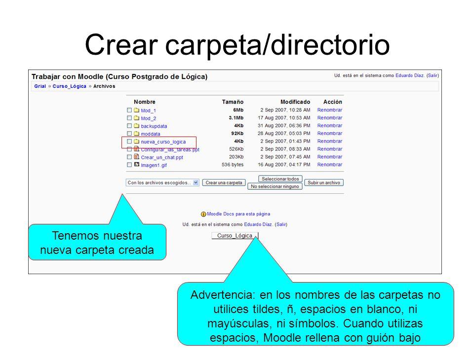 Crear carpeta/directorio