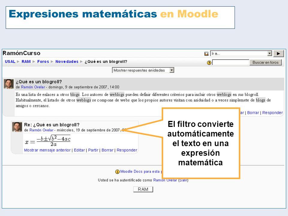 Expresiones matemáticas en Moodle
