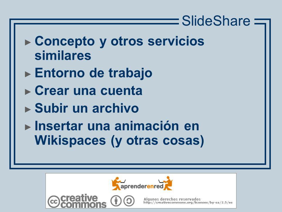 SlideShare Concepto y otros servicios similares Entorno de trabajo
