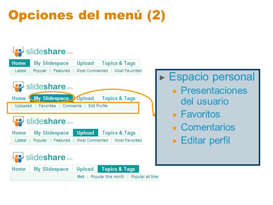 Opciones del menú (2) Espacio personal Presentaciones del usuario