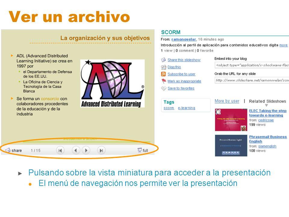 Ver un archivo Pulsando sobre la vista miniatura para acceder a la presentación.