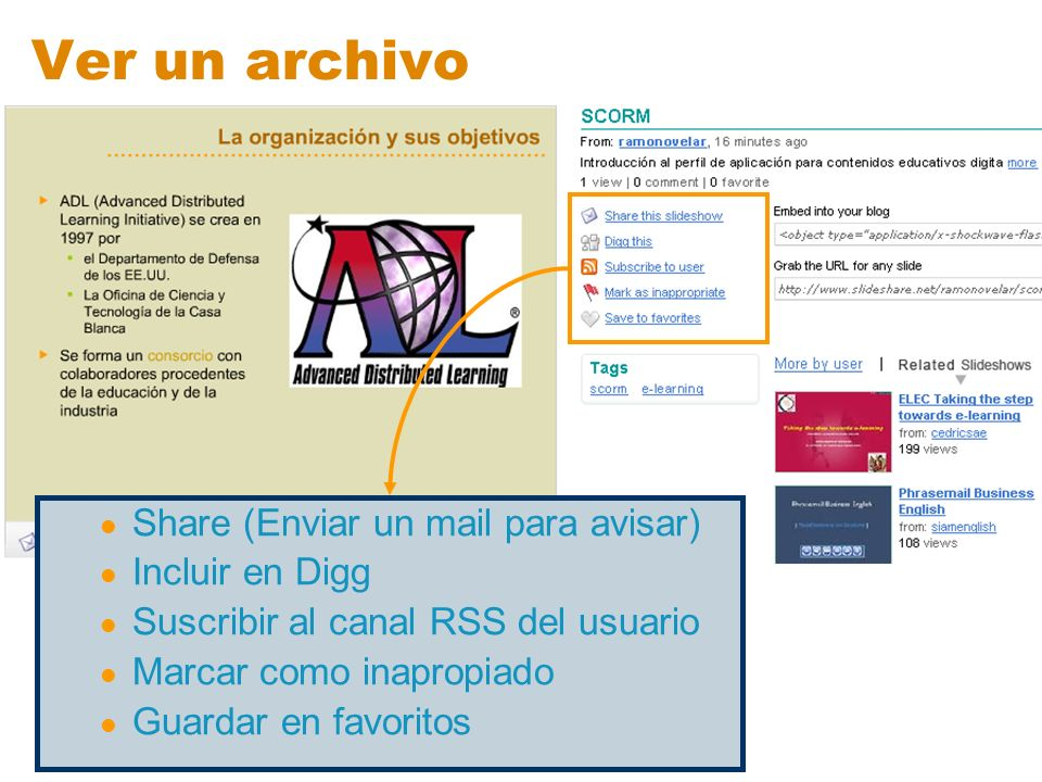Ver un archivo Share (Enviar un mail para avisar) Incluir en Digg