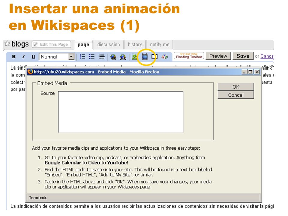 Insertar una animación en Wikispaces (1)