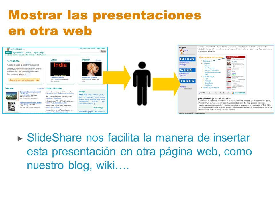 Mostrar las presentaciones en otra web