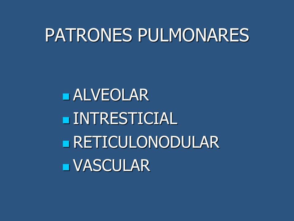 PATRONES PULMONARES ALVEOLAR INTRESTICIAL RETICULONODULAR VASCULAR