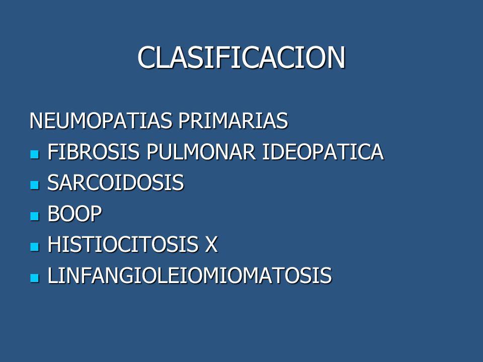 CLASIFICACION NEUMOPATIAS PRIMARIAS FIBROSIS PULMONAR IDEOPATICA