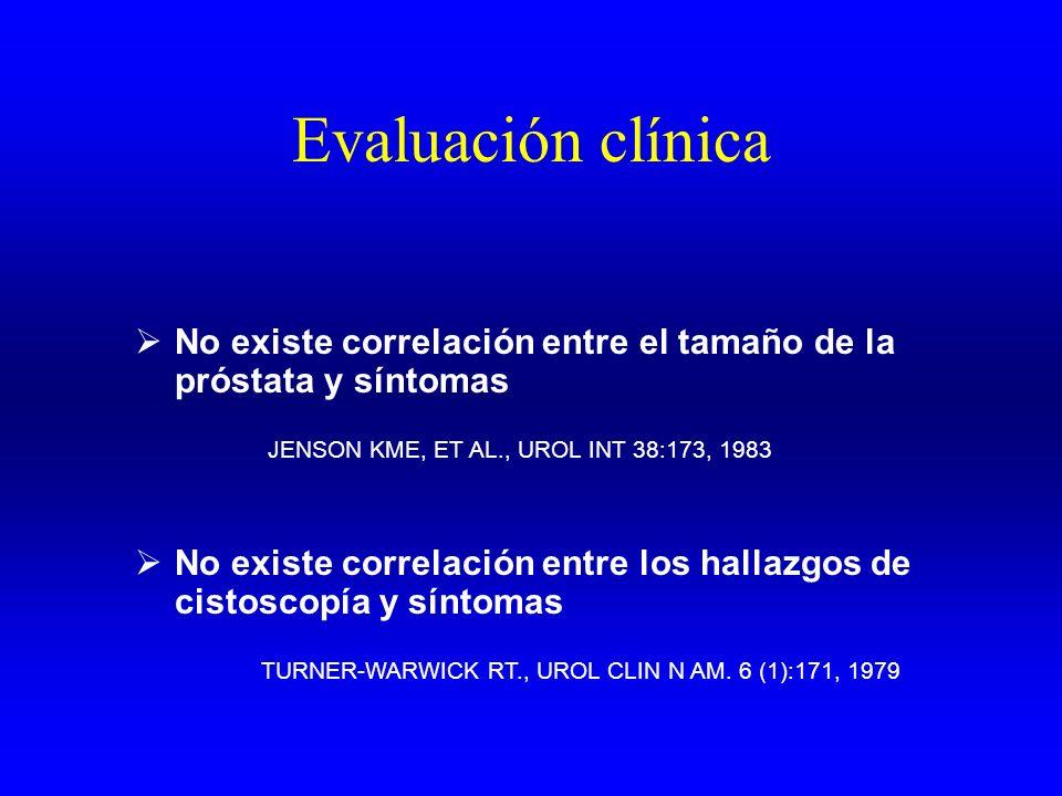 Evaluación clínica No existe correlación entre el tamaño de la próstata y síntomas. JENSON KME, ET AL., UROL INT 38:173, 1983.