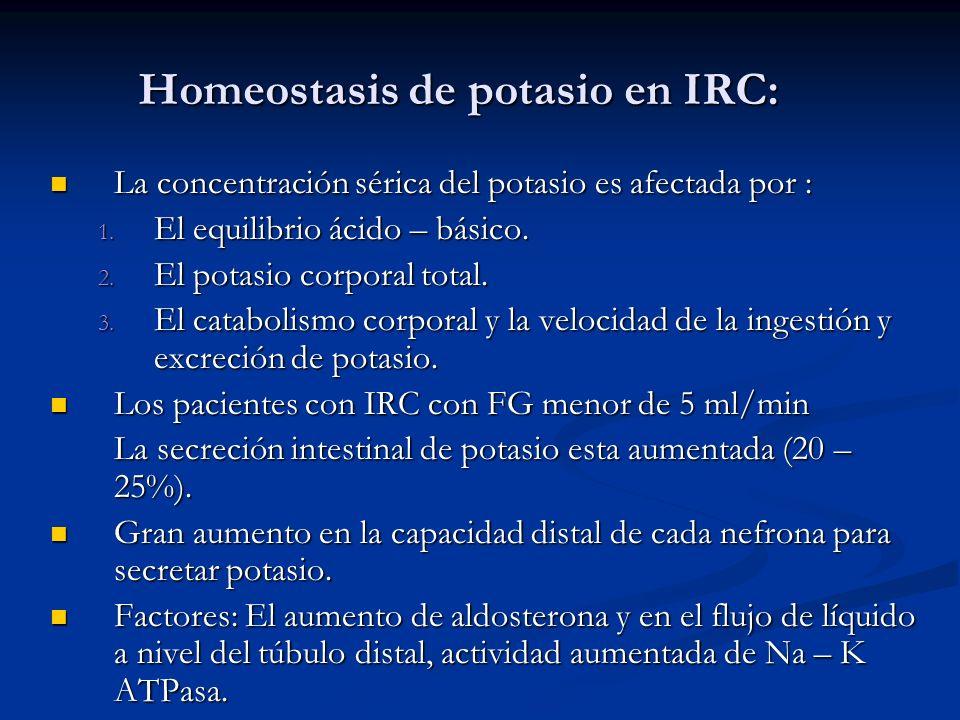 Homeostasis de potasio en IRC: