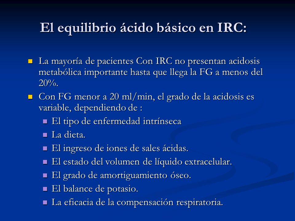 El equilibrio ácido básico en IRC: