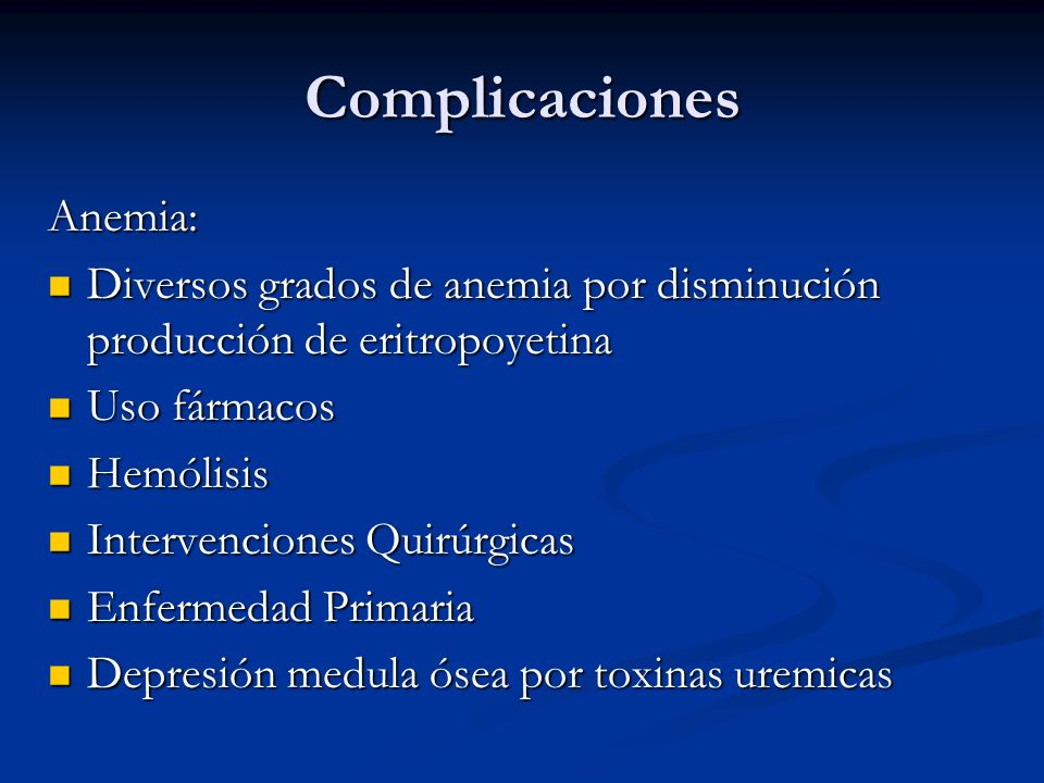 Complicaciones Anemia: