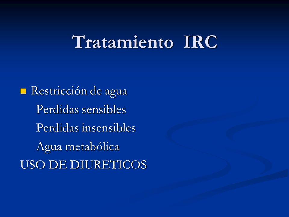 Tratamiento IRC Restricción de agua Perdidas sensibles