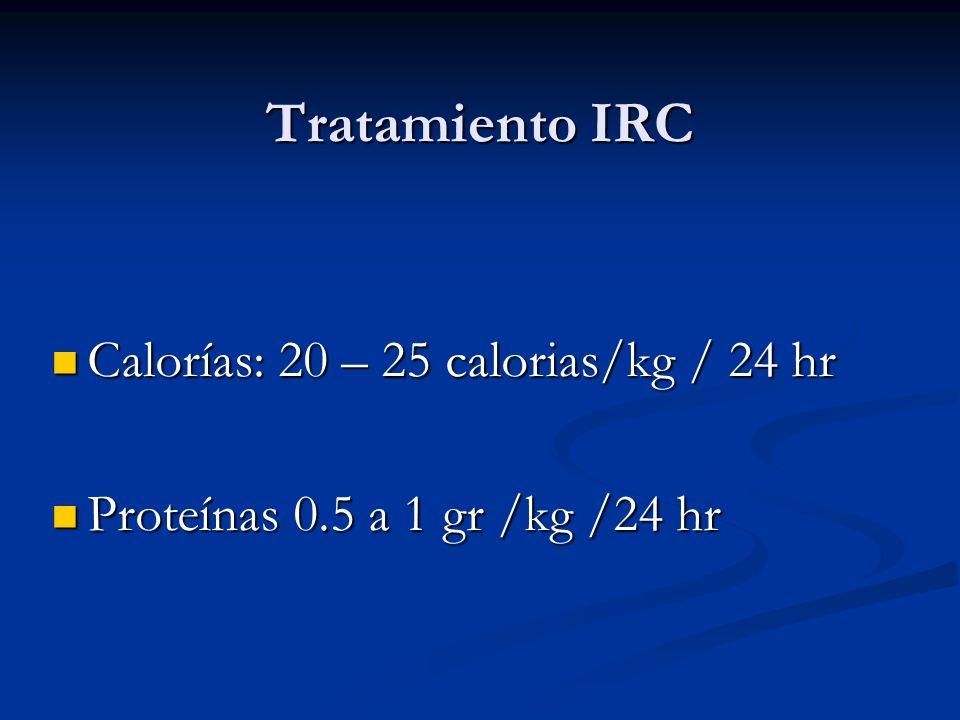 Tratamiento IRC Calorías: 20 – 25 calorias/kg / 24 hr