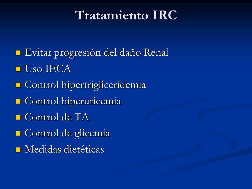 Tratamiento IRC Evitar progresión del daño Renal Uso IECA