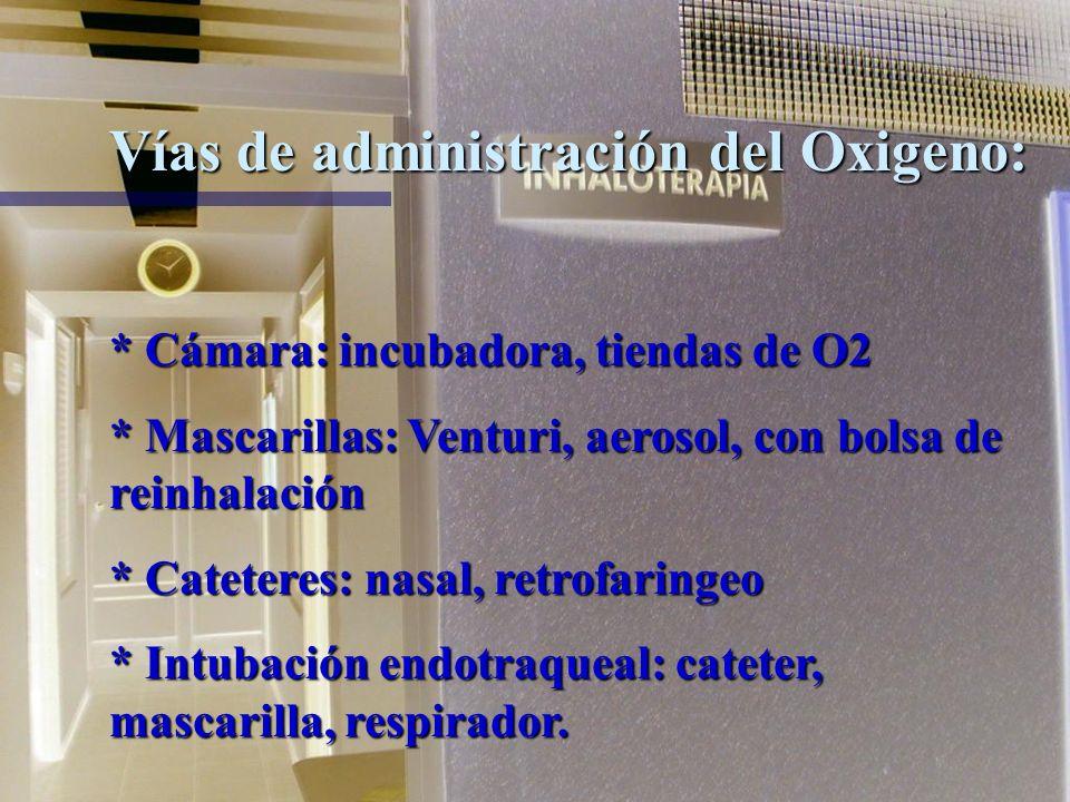 Vías de administración del Oxigeno:
