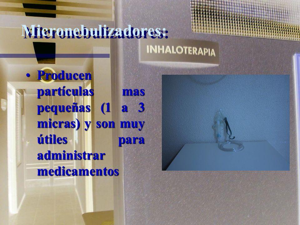Micronebulizadores:Producen partículas mas pequeñas (1 a 3 micras) y son muy útiles para administrar medicamentos.