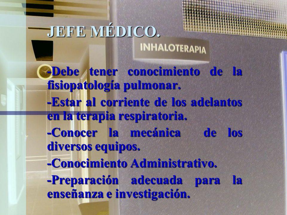 JEFE MÉDICO. -Debe tener conocimiento de la fisiopatología pulmonar.
