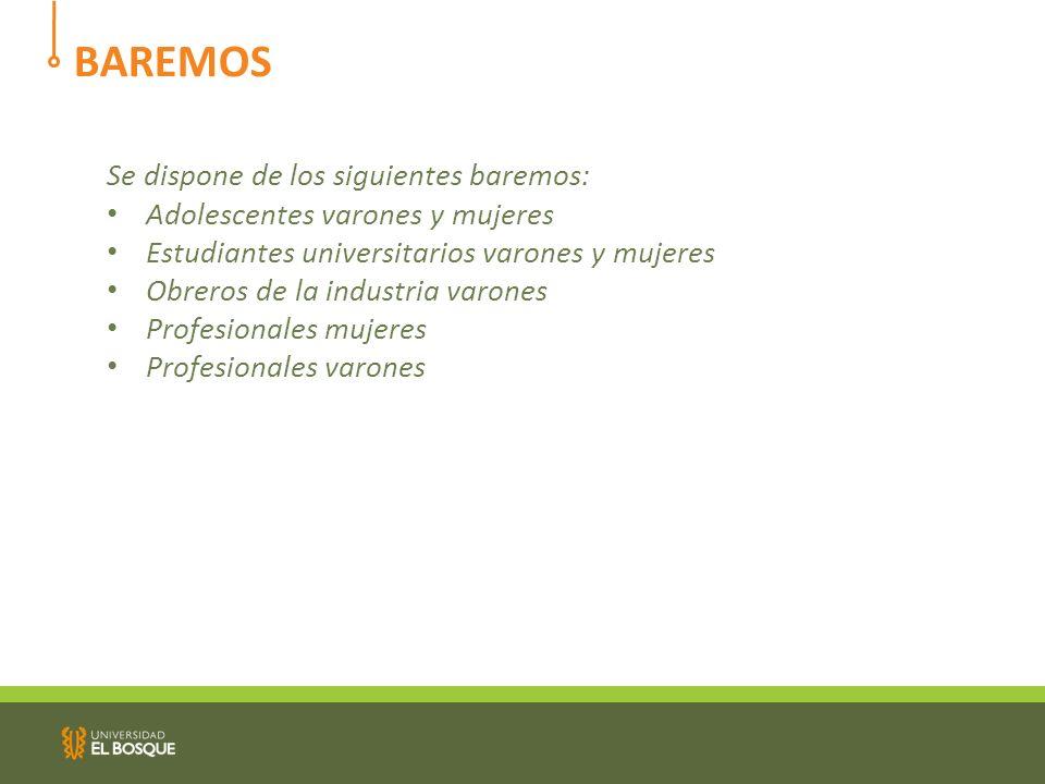 BAREMOS Se dispone de los siguientes baremos: