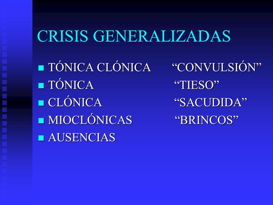CRISIS GENERALIZADAS TÓNICA CLÓNICA CONVULSIÓN TÓNICA TIESO