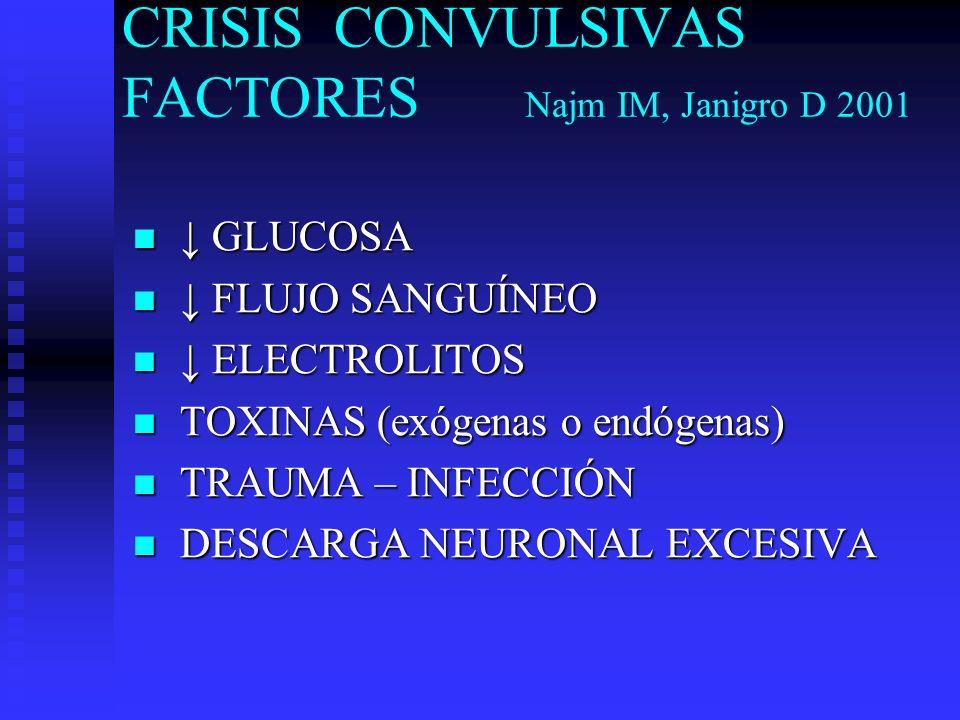 CRISIS CONVULSIVAS FACTORES Najm IM, Janigro D 2001
