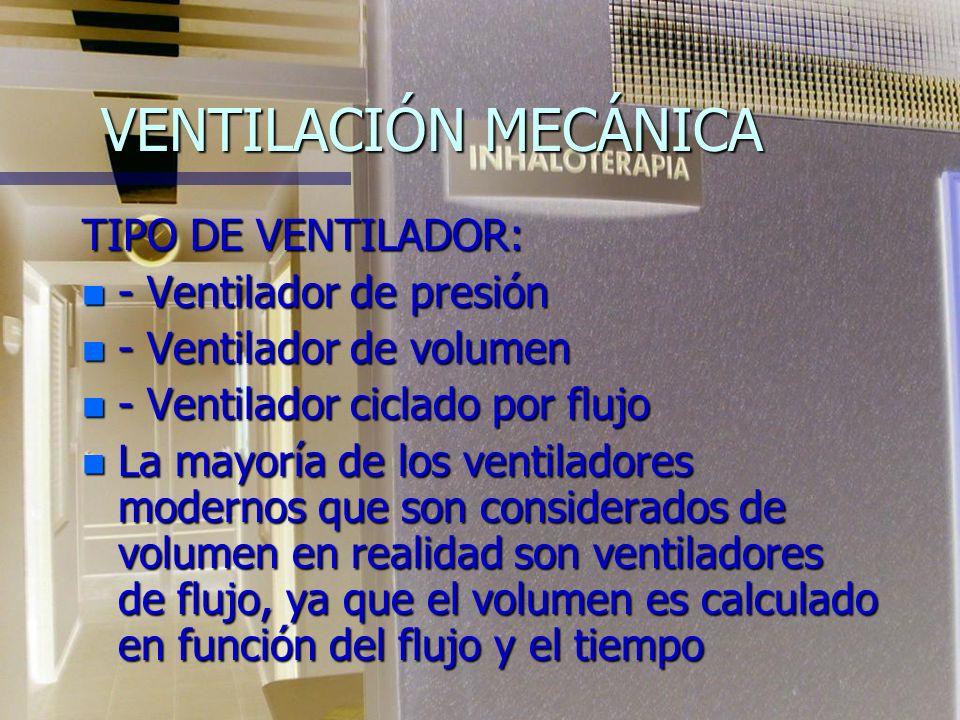 VENTILACIÓN MECÁNICA TIPO DE VENTILADOR: - Ventilador de presión