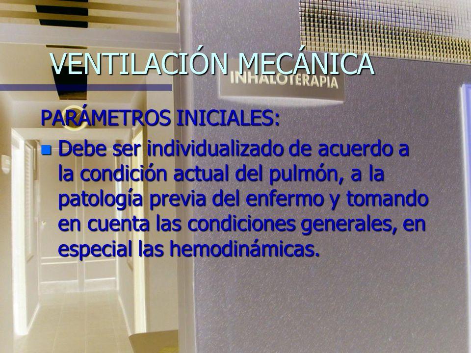 VENTILACIÓN MECÁNICA PARÁMETROS INICIALES: