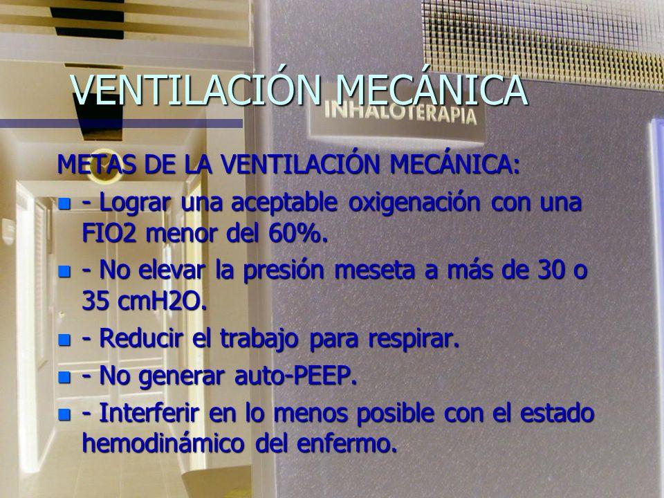 VENTILACIÓN MECÁNICA METAS DE LA VENTILACIÓN MECÁNICA: