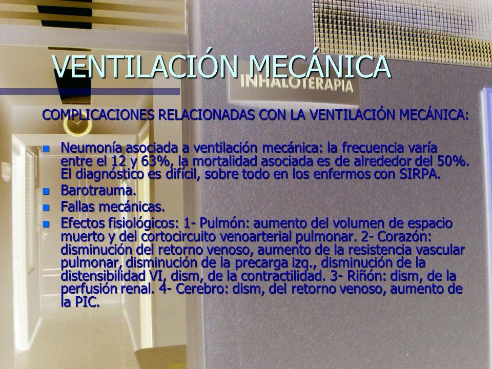 VENTILACIÓN MECÁNICA COMPLICACIONES RELACIONADAS CON LA VENTILACIÓN MECÁNICA: