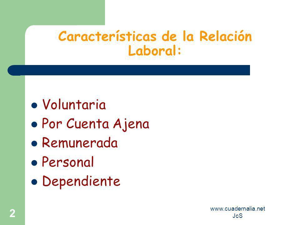 Características de la Relación Laboral: