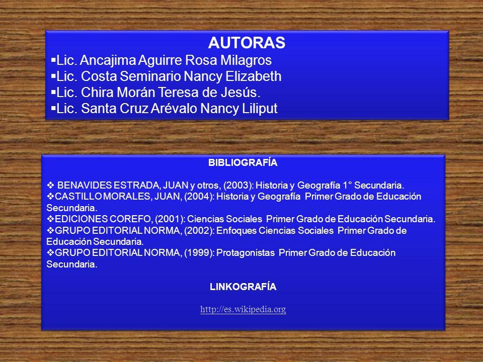 AUTORAS Lic. Ancajima Aguirre Rosa Milagros