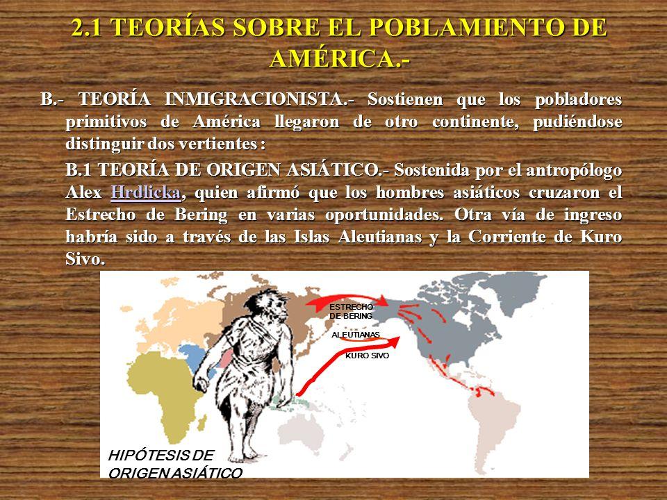 2.1 TEORÍAS SOBRE EL POBLAMIENTO DE AMÉRICA.-