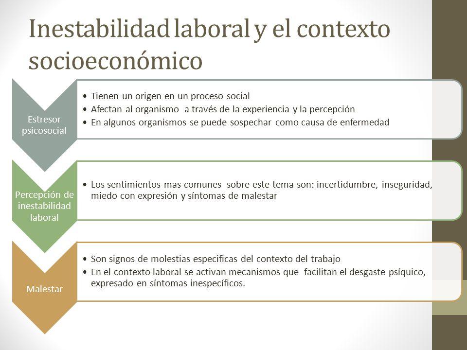 Inestabilidad laboral y el contexto socioeconómico