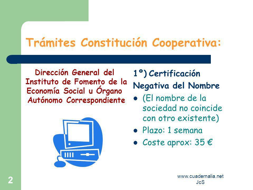 Trámites Constitución Cooperativa: