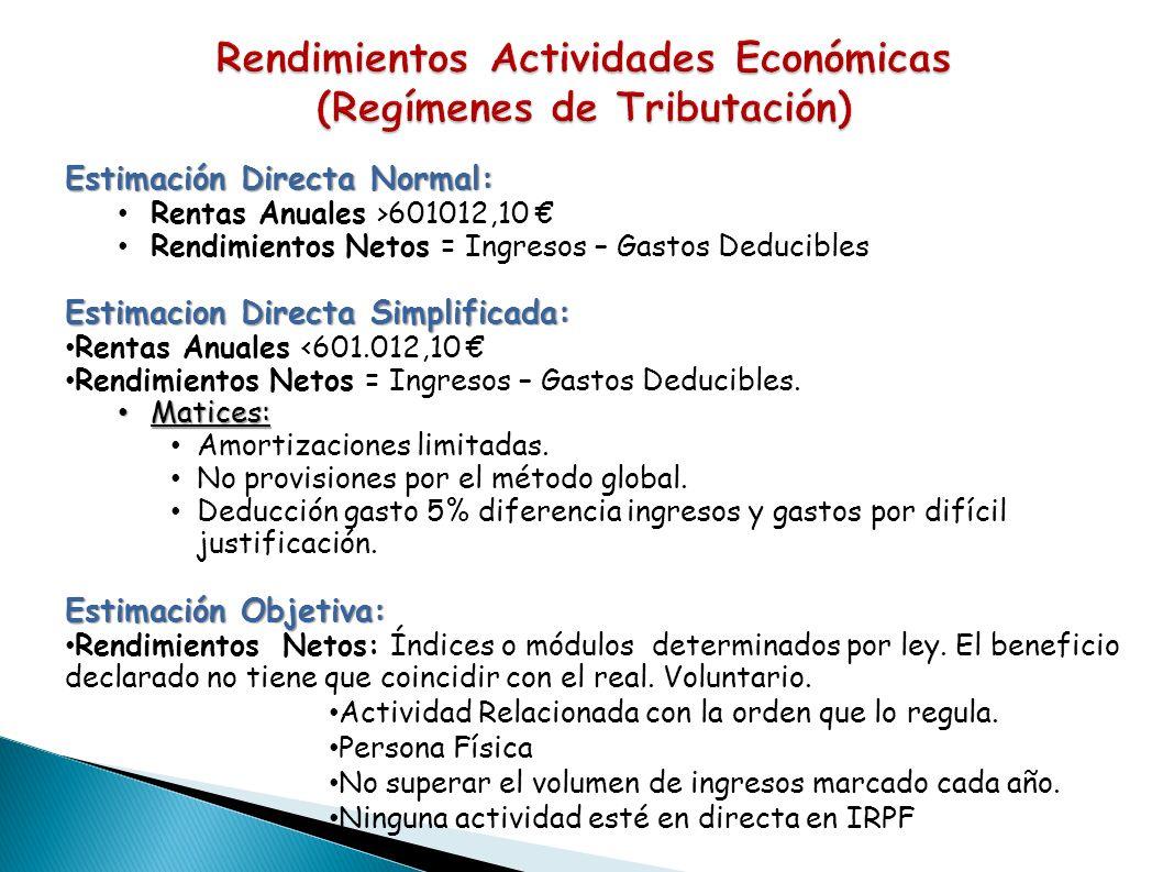 Rendimientos Actividades Económicas (Regímenes de Tributación)
