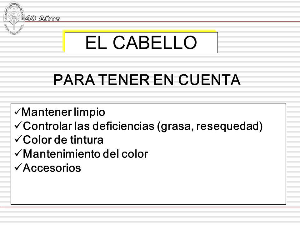 EL CABELLO PARA TENER EN CUENTA