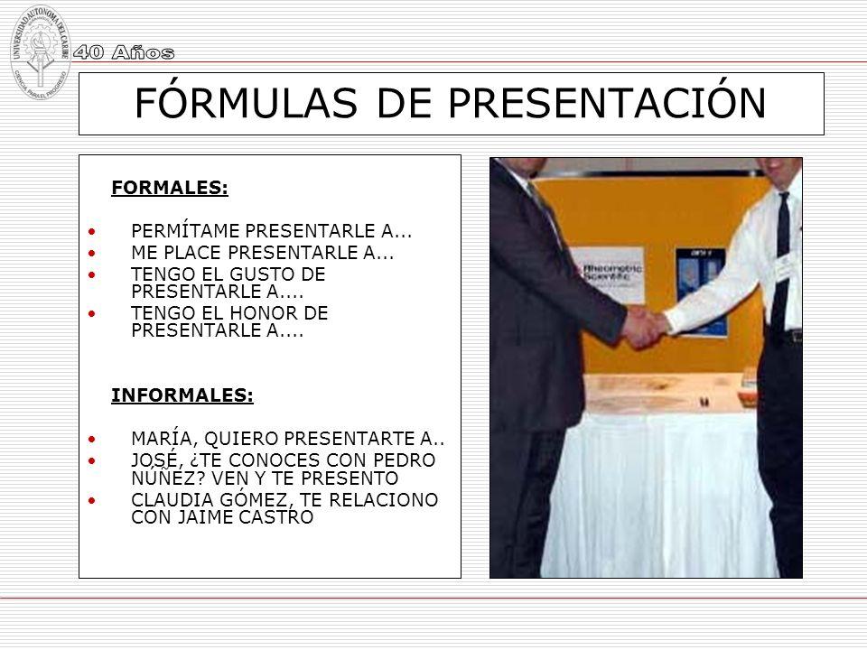 FÓRMULAS DE PRESENTACIÓN
