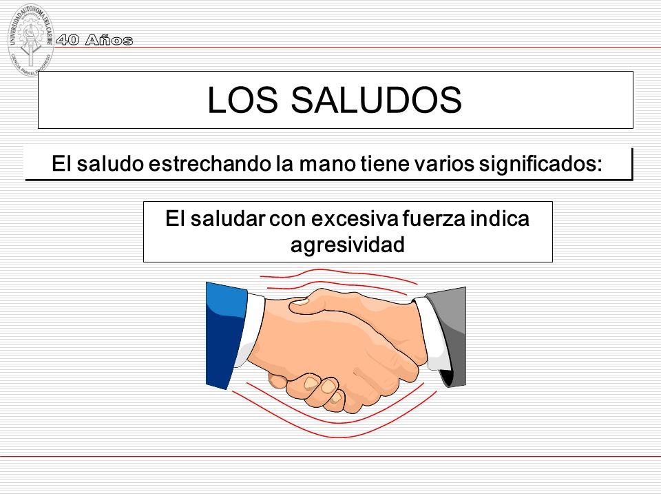 LOS SALUDOS El saludo estrechando la mano tiene varios significados:
