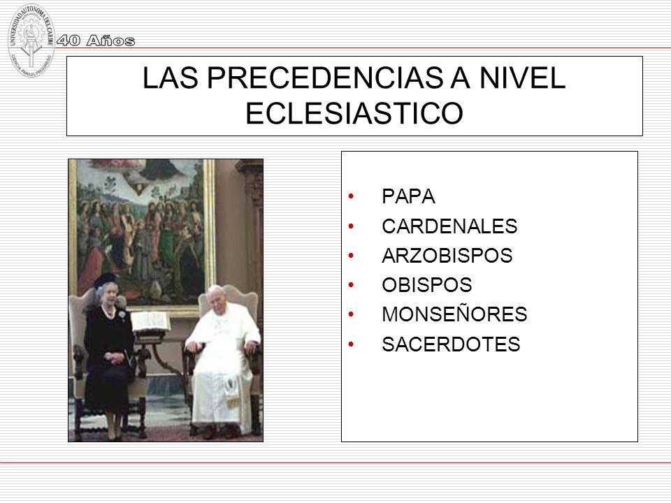 LAS PRECEDENCIAS A NIVEL ECLESIASTICO
