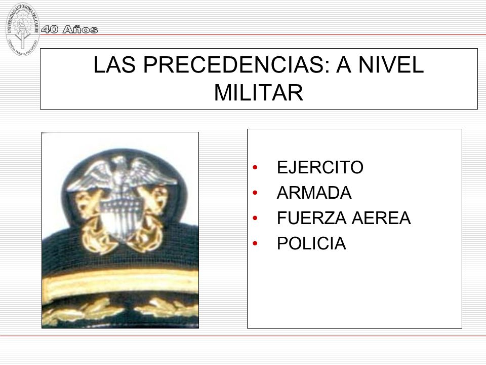 LAS PRECEDENCIAS: A NIVEL MILITAR