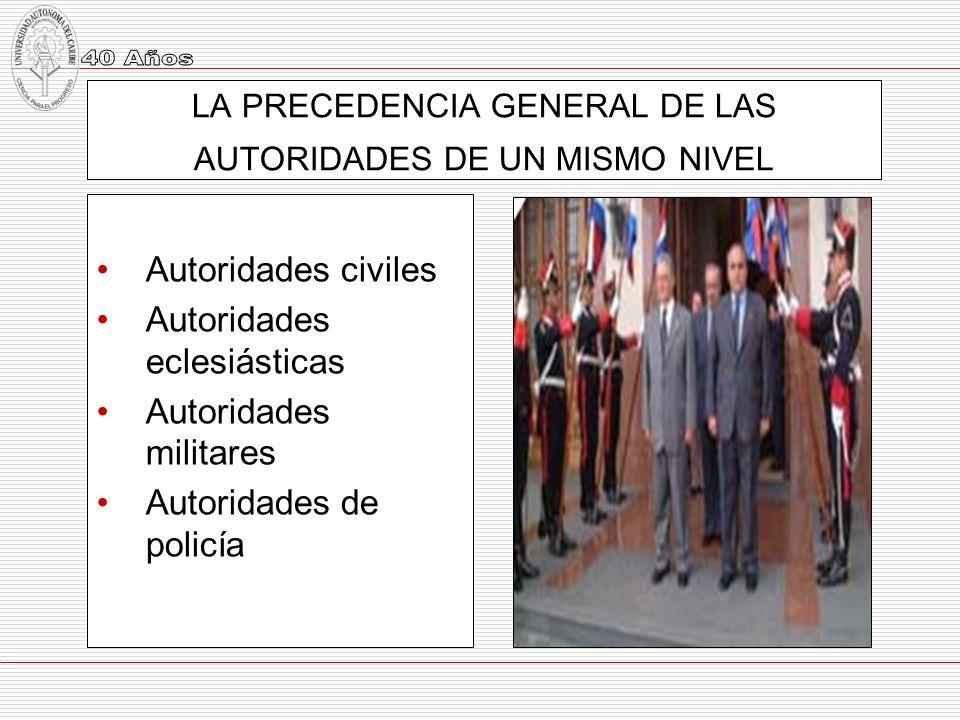 LA PRECEDENCIA GENERAL DE LAS AUTORIDADES DE UN MISMO NIVEL