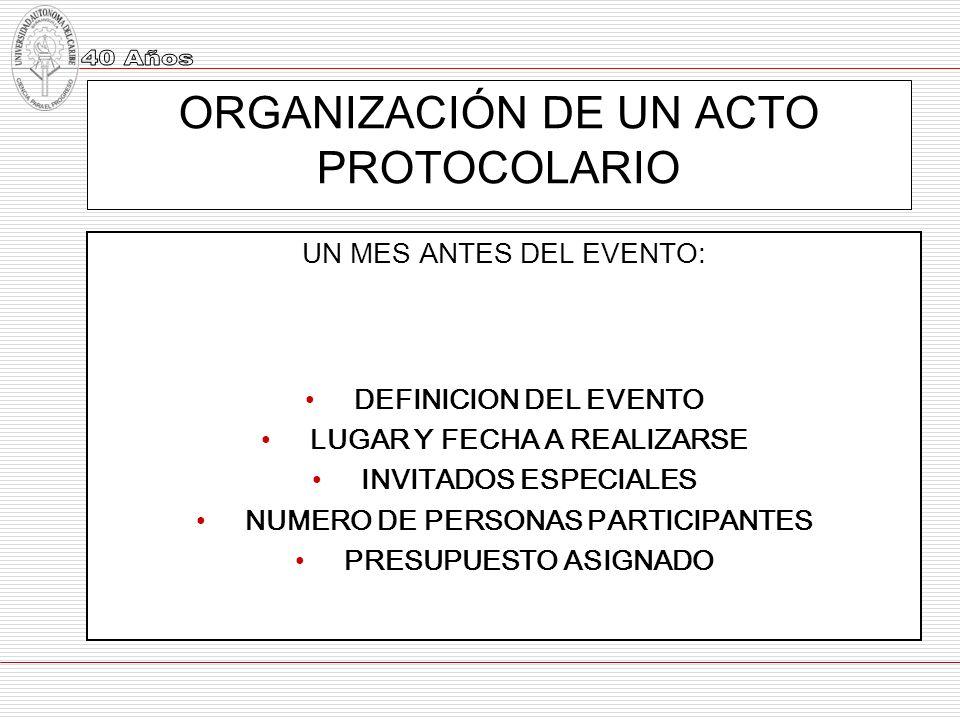 ORGANIZACIÓN DE UN ACTO PROTOCOLARIO