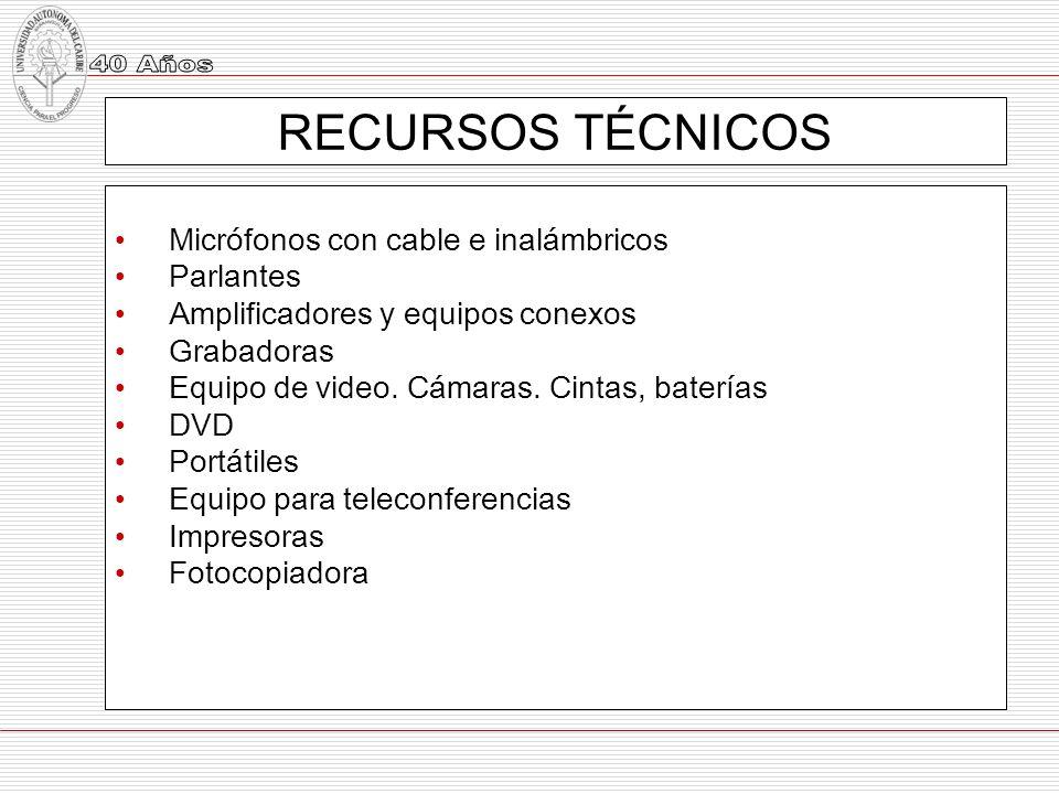 RECURSOS TÉCNICOS Micrófonos con cable e inalámbricos Parlantes