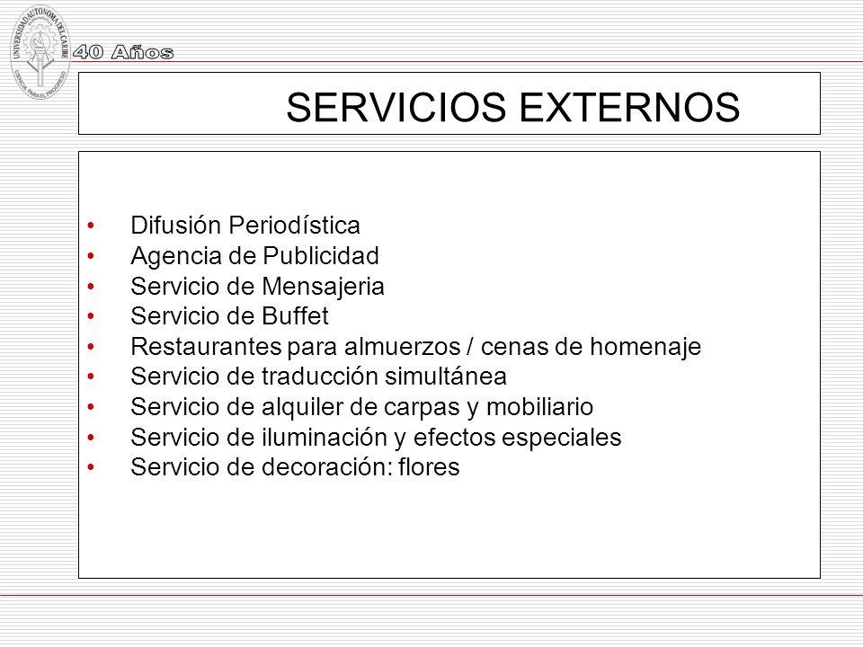 SERVICIOS EXTERNOS Difusión Periodística Agencia de Publicidad