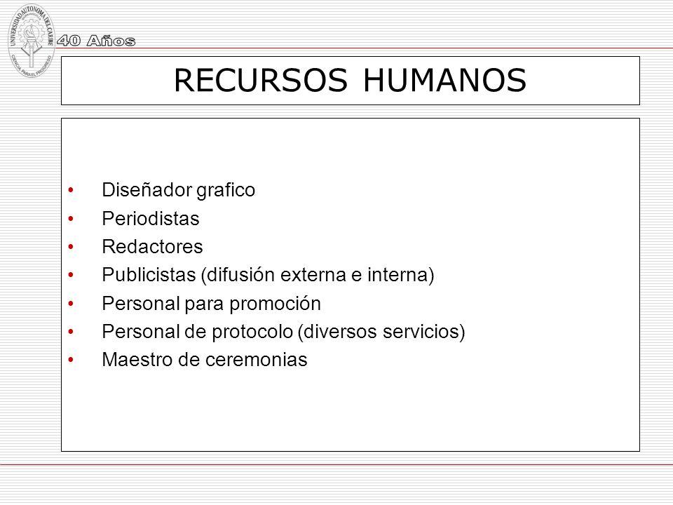 RECURSOS HUMANOS Diseñador grafico Periodistas Redactores