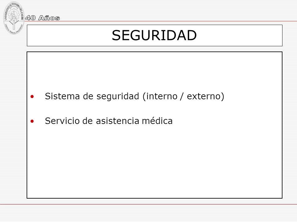 SEGURIDAD Sistema de seguridad (interno / externo)