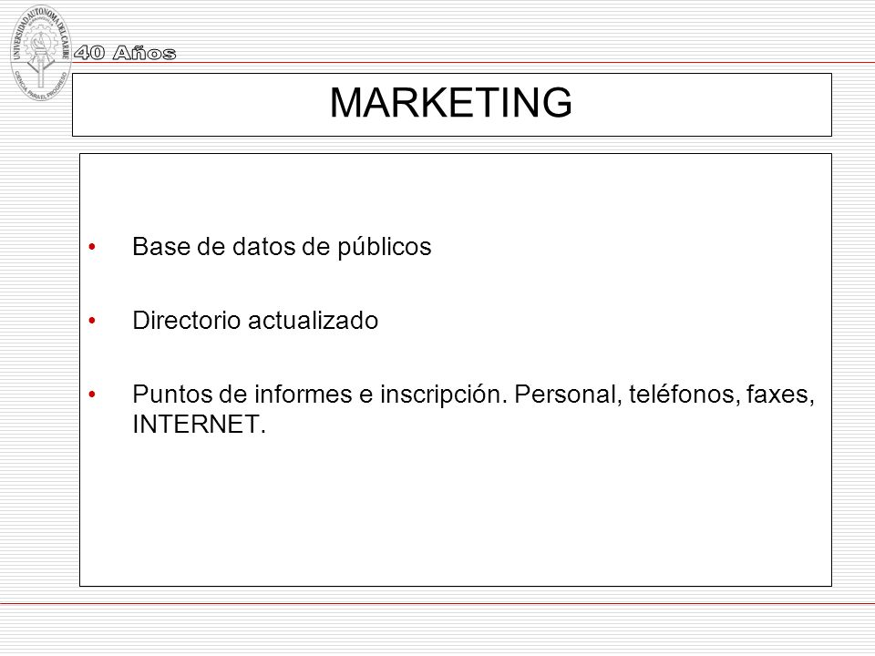 MARKETING Base de datos de públicos Directorio actualizado
