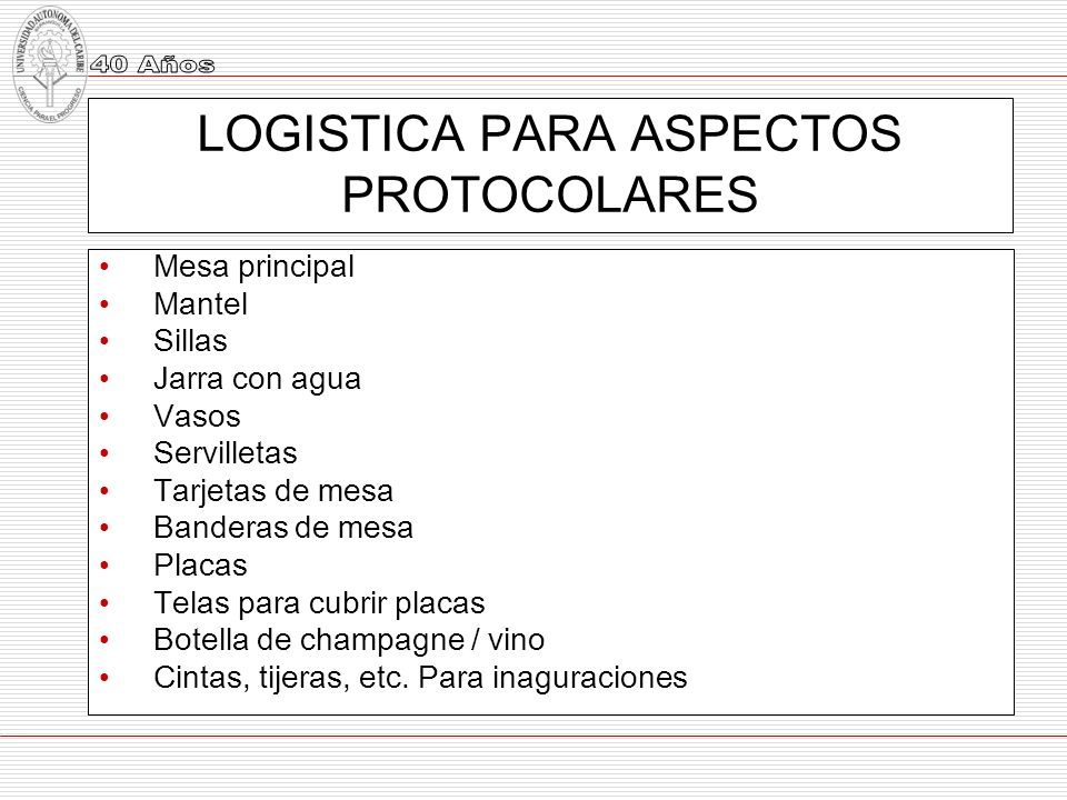 LOGISTICA PARA ASPECTOS PROTOCOLARES