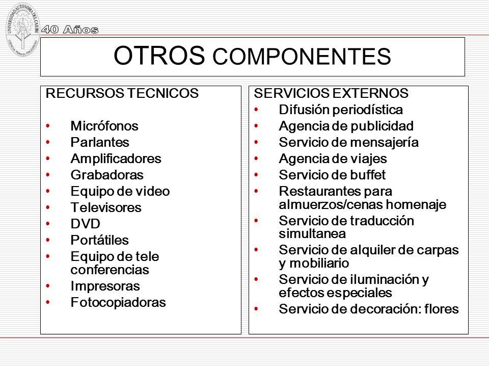 OTROS COMPONENTES RECURSOS TECNICOS Micrófonos Parlantes